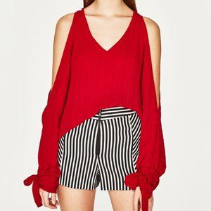NEW ✨ Zara Red Cold Shoulder Blouse Small